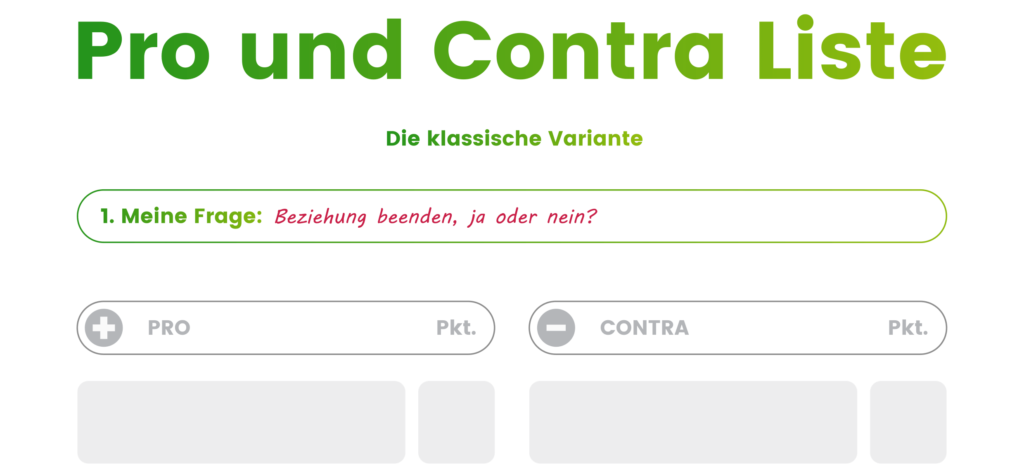 Pro und Contra Liste Schritt 1